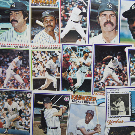memorabilia: A group of old, 1970s era baseball cards of the New York Yankees