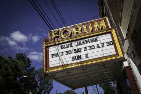 A view of the marquee at the historic Forum Theater in Metuchen, New Jersey   The marquee shows that Woody Allen