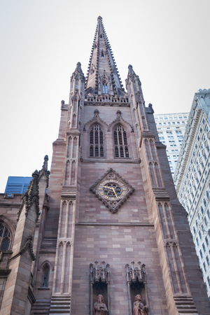 broadway tower: A view of the Trinity Church on Broadway in New York City in the city