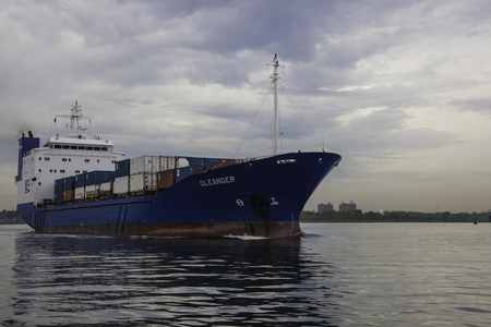 The Oleander Cargo Ship carrying shipping containers photographed near Port Elizabeth in New Jersey   The Oleander is owned and operated by Bermuda Container Line, Ltd   BCL   Editorial Use Only   Stock Photo - 27929606