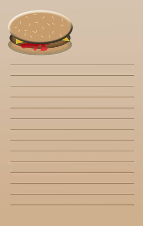 scratch pad: A beige colored, lined notebook page with a colorful cheeseburger on top   Use for shopping list, etc; size is suitable to make a 5 25 x 8 25 inch note pad - typical scratch pad