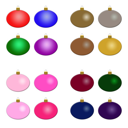 pinks: Sixteen round Christmas ornaments featuring four different color schemes   brights, metallics, pinks, and deep tones; Use as clipart or stamps; insert text Stock Photo