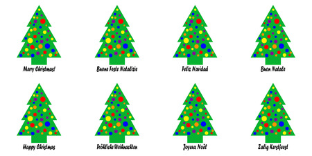 Whimsical Christmas tree tags with a Christmas greeting in various languages; languages include English, Italian, French, German, Spanish, and Dutch Stock Photo