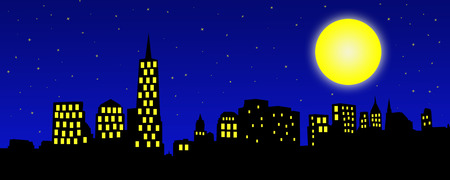 night: An illustration of a city skyline at night   Stars twinkle in the night blue sky while the moon glows brightly   Light glows through windows in the skyscrapers; banner format Stock Photo