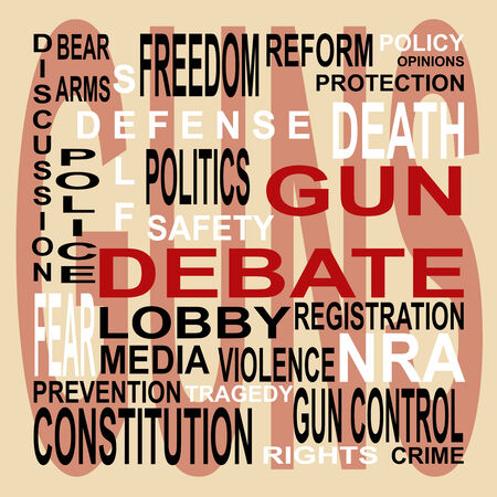 Words depict the controversial gun debate Stock Photo