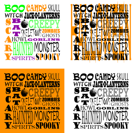 goblins: Four sets of word art with various backgrounds