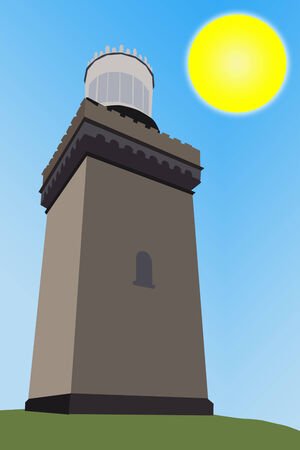 An illustration of a brown lighthouse with a bright blue sky and sun in the background; illustration based on the Twin Lights in New Jersey illustration