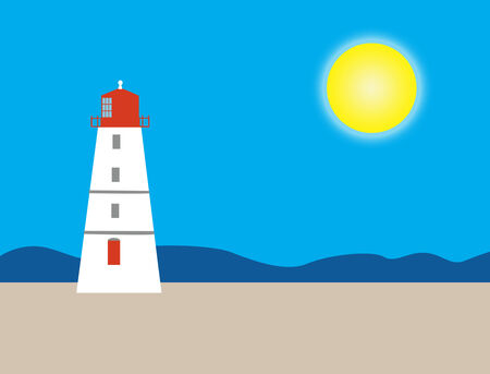 An illustration of a red and white lighthouse with a bright blue sky and sun in the background; beach foreground; plenty of space for text; illustration based on the Paradise Island Lighthouse in the Bahamas illustration