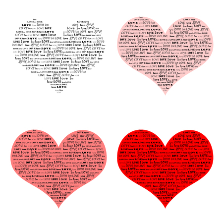 photoshop: Four different colored hearts with word clouds using the word love in various fonts; use together or individually; use as brushes or stamps in photoshop; easy to clip and use as you wish Stock Photo