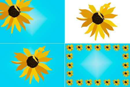 A set of four layouts including the same sunflower design illustration; border, clipart, etc