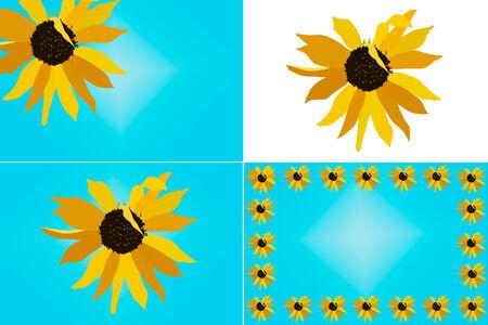 Ein Satz von vier Layouts einschließlich der gleichen Sonnenblumen-Design-Abbildung; Grenze, Cliparts, etc Standard-Bild - 27935943