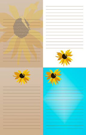 scratch pad: A set of four different notepads with sunflowers on them; suitable to be printed at a size of 5 25 by 8 25 inches