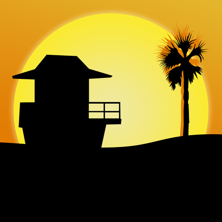 shack: An illustration featuring a sunset over the ocean with palm trees and a beach shack silhouetted; room for text on bottom of illustration; square format Stock Photo
