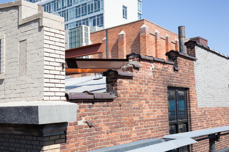 industrial park: Industrial architecture can be seen on buildings from New York Citys High Line Park.  Photo taken on April 6, 2014. Editorial