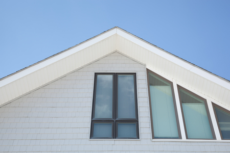 townhomes: Architectural details on a beachfront property.