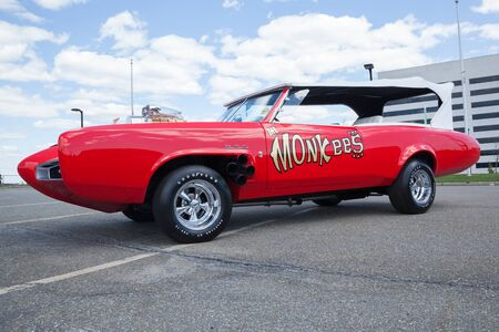 woodbridge: APRIL 26, 2015 - Woodbridge, NJ: A replica of the Monkeemobile from the television show The Monkees is shown at a local car show.