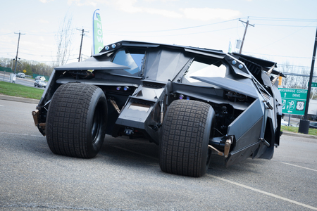 woodbridge: APRIL 26, 2015 - Woodbridge, NJ: A replica of the Batmobile Tumbler from The Dark Knight is shown at a local car show.
