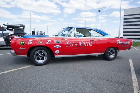 dragster: APRIL 26, 2015 - Woodbridge, NJ: A Sox and Martin dragster is shown at a local car show.