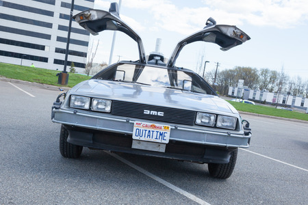 APRIL 26, 2015 - Woodbridge, NJ: A replica of the Back to the Future DeLorean is shown at a local car show 新闻类图片