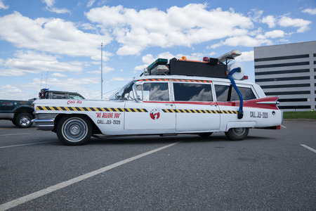 autos: APRIL 26, 2015 - Woodbridge, NJ: A replica of the Ghostbusters Cadillac on display at a local car show.