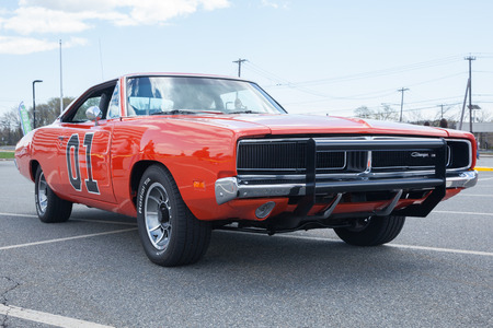 APRIL 26, 2015 - Woodbridge, NJ: A replica of the General Lee from the Dukes of Hazzard on display at a local car show.