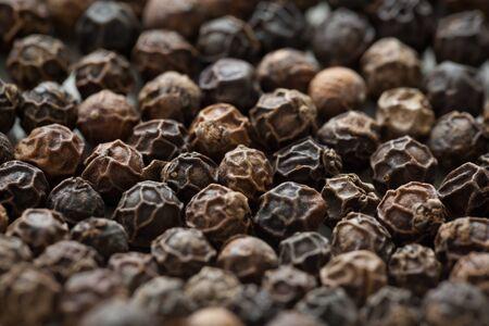 Black peppercorns are viewed closeup