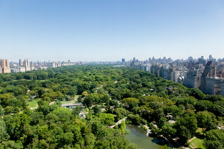 An aerial view of Central Park in New York City from Central Park South Stock Photo