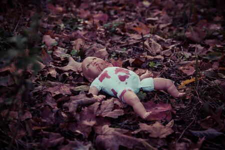 woodland  horror: Abandoned baby doll in woods Stock Photo