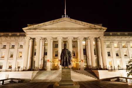 treasury: Washington DC - December 5, 2015:  A view of the Treasury Department building at night, decorated for Christmas Editorial