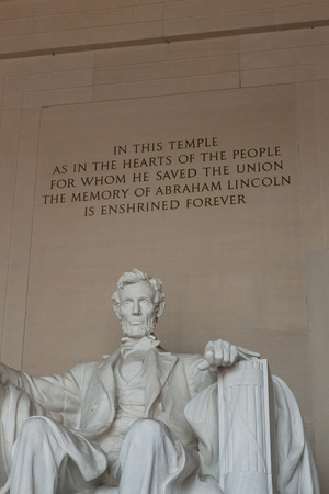 lincoln memorial: Washington DC - December 6, 2015:  A statue of Abraham Lincoln from inside the Lincoln Memorial