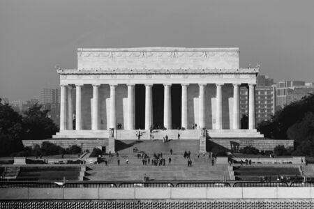 lincoln memorial: Washington DC - December 6, 2015:  Tourists can be seen on the steps of the Lincoln Memorial