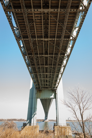 underside: The underside of the famous Verrazano-Narrows Bridge viewed from Fort Wadsworth in Staten Island, New York. Stock Photo