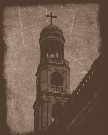 steeple: An image of a church steeple made to look vintage. Stock Photo