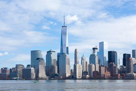 The Freedom Tower and Lower Manhattan Skyline as seen from Liberty State Park in New Jersey on March 6, 2016. Stock Photo