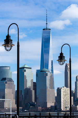 freedom tower: JERSEY CITY, NJ - MARCH 6: A view of the Freedom Tower in the World Trade Center as seen from Liberty State Park on March 6, 2016.