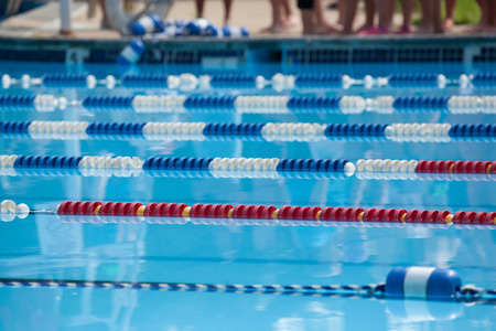 lane lines: Swim Lanes in red, white, and blue.