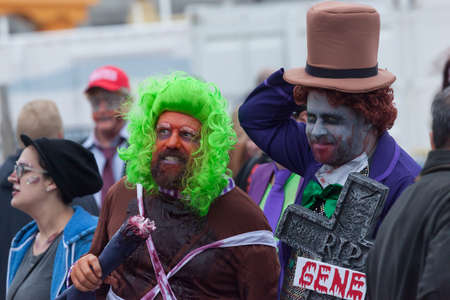 willy: ASBURY PARK, NEW JERSEY - October 1, 2016: Zombies take over the Asbury Park Boardwalk during the 2016 New Jersey Zombie Walk Editorial