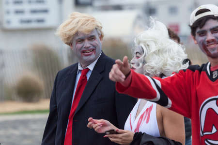 marilyn monroe: ASBURY PARK, NEW JERSEY - October 1, 2016: Zombies take over the Asbury Park Boardwalk during the 2016 New Jersey Zombie Walk Editorial