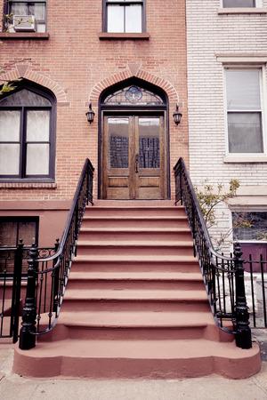 brownstone: A brownstone entrance in Hoboken, New Jersey.