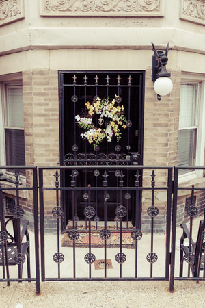 brownstone: A beautiful ground level brownstone entrance in Hoboken, New Jersey.