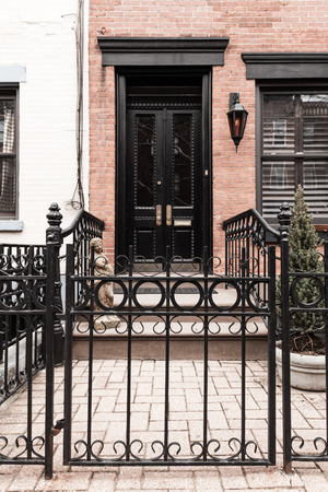new jersey: A beautiful ground level brownstone entrance in Hoboken, New Jersey.