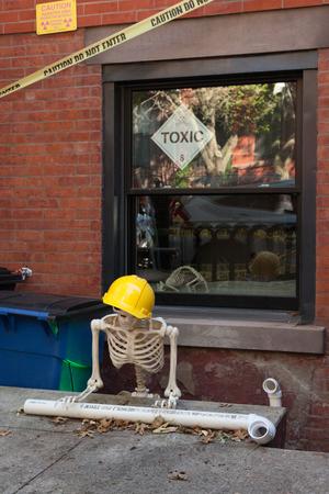 HOBOKEN, NEW JERSEY - October 27, 2017: The beautiful brownstones along Garden Street are decorated for Halloween Editorial