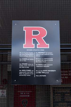 PISCATAWAY, NEW JERSEY - January 4, 2017: The Rutgers Athletic Creed is posted outside of High Point Solutions Stadium on the Busch Campus