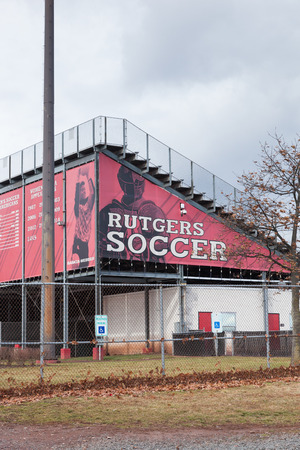 PISCATAWAY, NEW JERSEY - January 4, 2017: The exterior of the Rutgers University soccer stadium is shown on a cloudy winters day Editorial