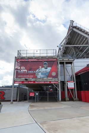 PISCATAWAY, NEW JERSEY - January 4, 2017: A view of the exterior of Rutgers High Point Solutions Stadium