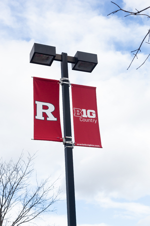 PISCATAWAY, NEW JERSEY - January 4, 2017: A view of a Rugers banner on a light post outside of Highpoint Solutions Stadium