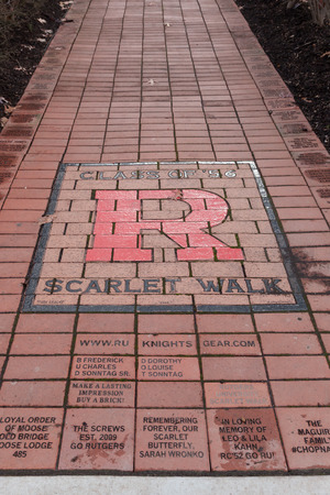PISCATAWAY, NEW JERSEY - January 4, 2017: The Scarlet Walk is pictured at the Rutgers University Busch Campus, near High Point Solutions Stadium Editorial