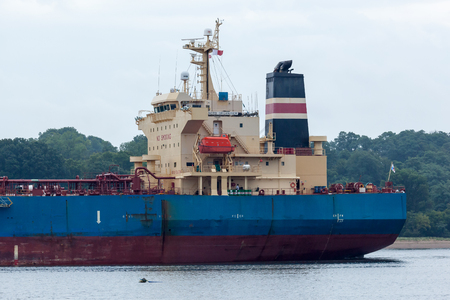 PERTH AMBOY, NEW JERSEY - August 7, 2017: The Nord Organiser Oil Tanker navigates the Arthur Kill