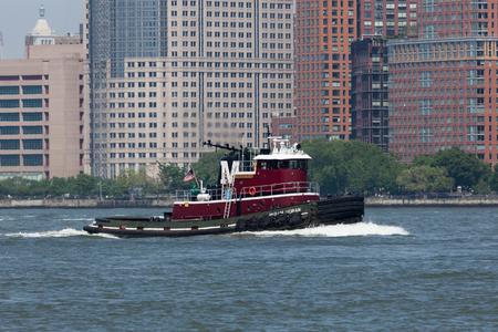 NEW YORK, NY - May 25, 2016:  The Miriam Moran Tugboat travels the Hudson River