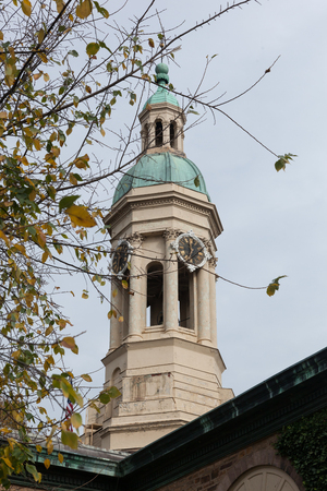 PRINCETON, NEW JERSEY - November 1, 2017: A view of the clock tower on Nassau Hall on an autumn day Editorial